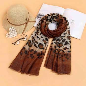 Two Tone Leopard Print Scarf Golden Brown