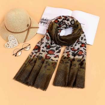 Two Tone Leopard Print Scarf Olive Green