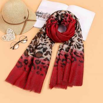 Two Tone Leopard Print Scarf Red