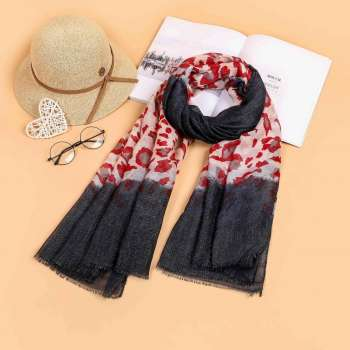 Two Tone Leopard Print Scarf Navy