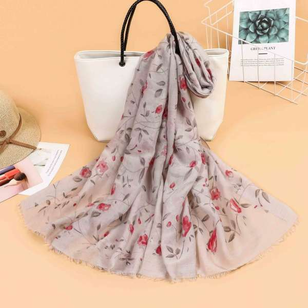 Floral Sparkle Print Scarf Grey