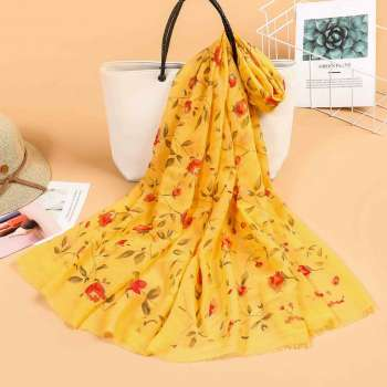 Floral Sparkle Print Scarf Lemon