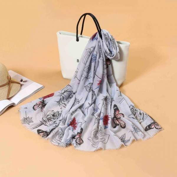 Butterfly Print Scarf In Grey