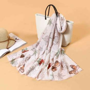Butterfly Print Scarf In Nude