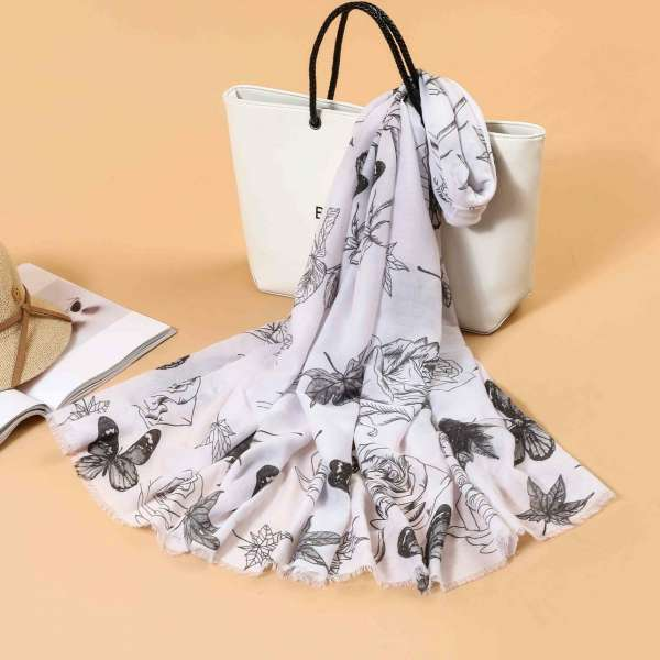 Butterfly Print Scarf In White