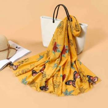 Butterfly Print Scarf In Yellow