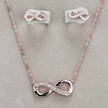 Newgrange Living Infinity Necklace & Earring Set Rose Gold