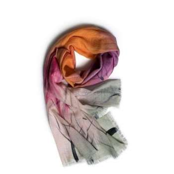 Galway Living Dusk, Pink & Orange Merino Wool Scarf