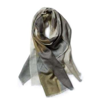 Galway Living Olive & Stone Merino Wool Scarf