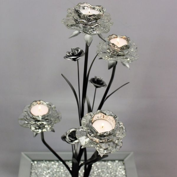 The Grange Collection 4-Glass Flower Candle Holder