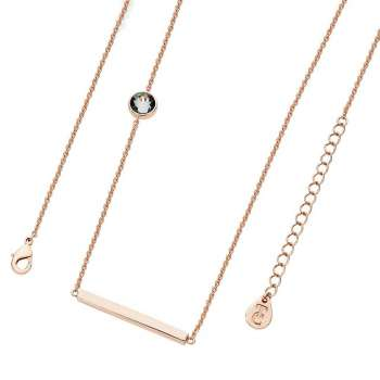 Scandi Rose Gold Necklace With Bar & Single Charcoal CZ From Tipperary Crystal