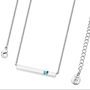 Silver Bar Pendant With Aquamarine Crystal
