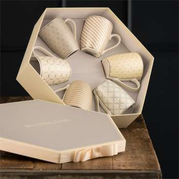 Belleek Living Geometric Mugs In A Hexagon Box
