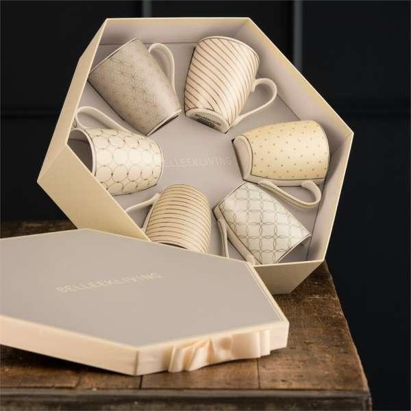 Belleek Living Geometric Mugs In A Hexagon Box
