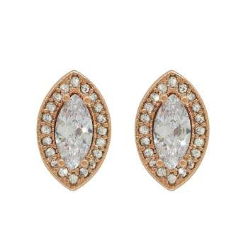 Rose Gold Marquise Cut Earrings From Tipperary Crystal