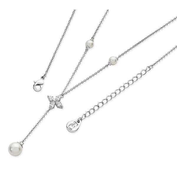 Silver Star Long Drop Pearl Necklace From Tipperary Crystal