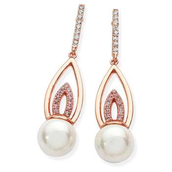 Rose Gold Pearl Drop Earrings From Tipperary Crystal
