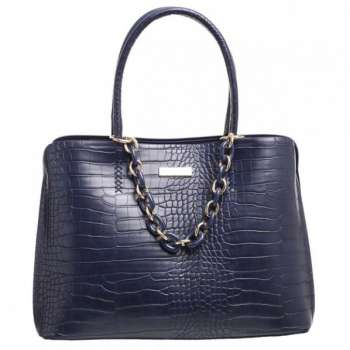 Bessie Ring Chain Croc Print Large Bag In Navy
