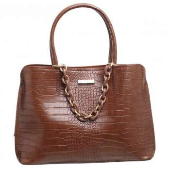 Bessie Ring Chain Croc Print Large Bag In Chocolate
