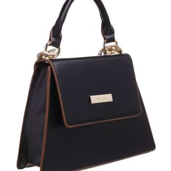 Bessie Acrylic Chain Top Handle Flap Over Bag Black