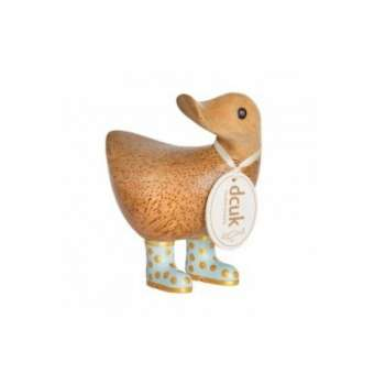 Natural Finish Ducky with Duck Egg Blue & Gold Spotty Welly Boots