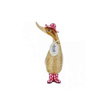 Duckling With Spotty Pink Hat & Welly Boots In Natural Finish