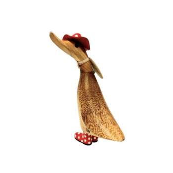 Duckling in a Spotty Red Hat & Welly Boots In Natural Finish