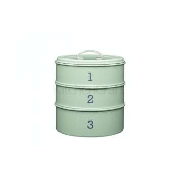 Kitchen Craft 3 Tier Metal Cake Storage Tin Sage