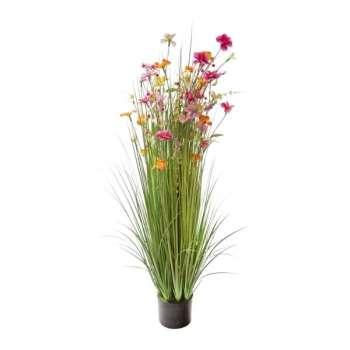 Grass Floral Bundle Pink And Orange Flowers Potted 120cm