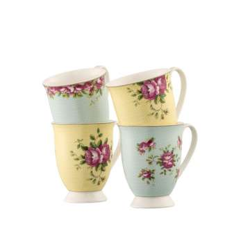 Aynsley Archive Rose Footed Mugs Set