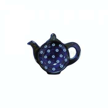 Ceramic Tea Bag Tidy Blue and White Circle