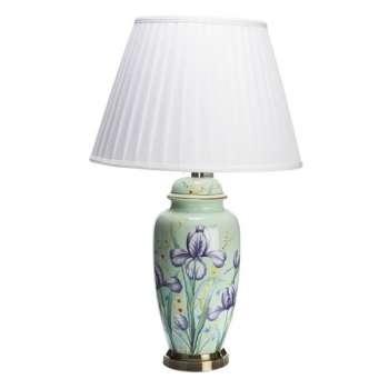 The Grange Ceramic Teal Flower Lamp