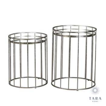Round Mirrored Silver Set Of Two Side Tables From Tara Home