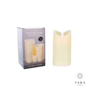 Tara Home Flicker Led Candle Ivory 15cm With Timer