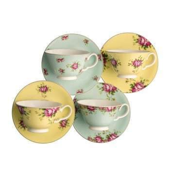 Aynsley Archive Rose Tea Cup and Saucer Set