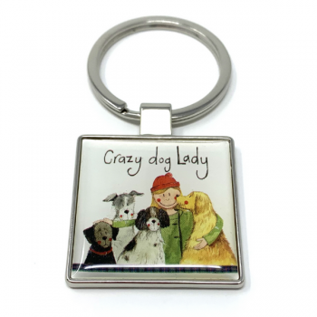 Alex Clarke Crazy Dog Lady Keyring