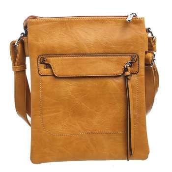 Bessie Classic Zipper Crossbody Bag Mustard