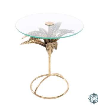 Tara Lane Azure Leaf Accent Table Round Gold