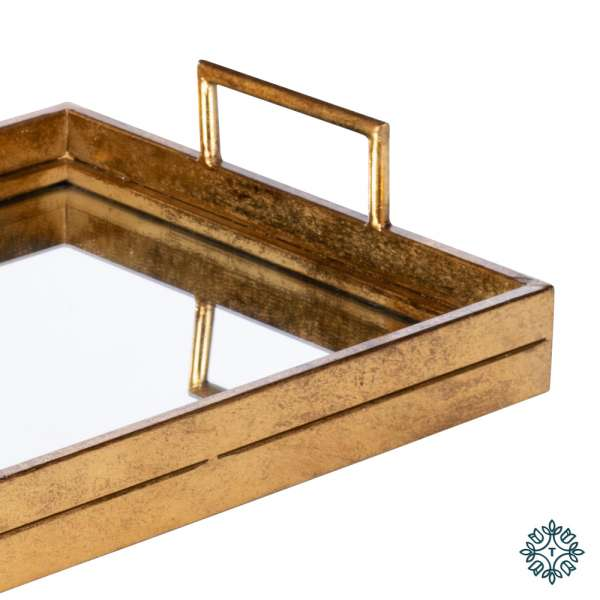 Tara Home Amelia Mirrored Tray Rectangle Gold