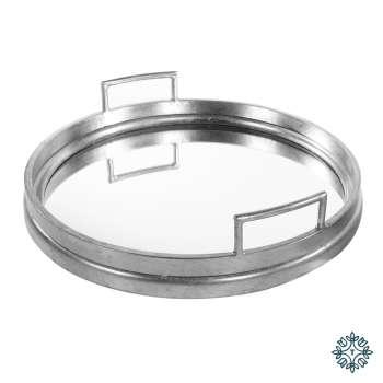 Tara Home Amelia Mirrored Tray Round Silver