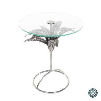 Tara Lane Azure Leaf Accent Table Round Silver