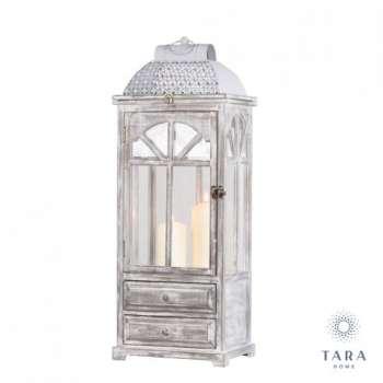 Tara Lane Chester Window Lantern With Drawers Grey Large