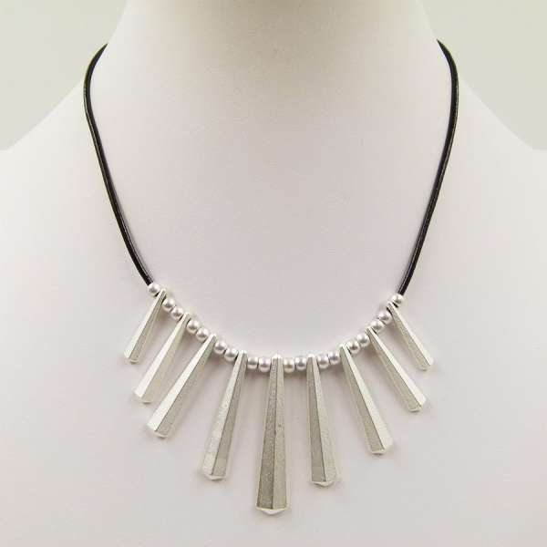 Tempest Geometric Drop On A short Leather Necklace