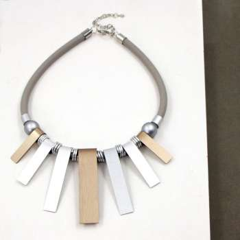 Tempest Neoprene Short Necklace With Rectangular Bars