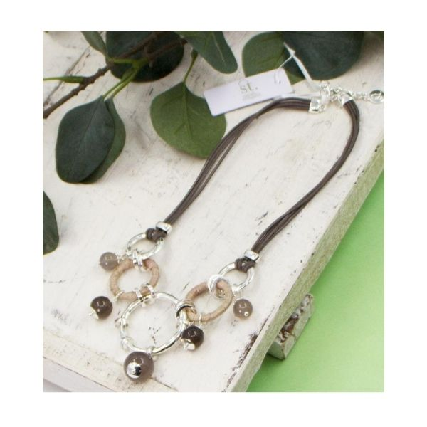 Tempest Pendant With Beads On A Short Taupe Leather Strap