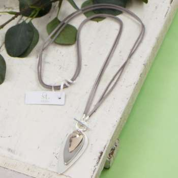 Tempest Long Grey suede Mixed Tone Pendant