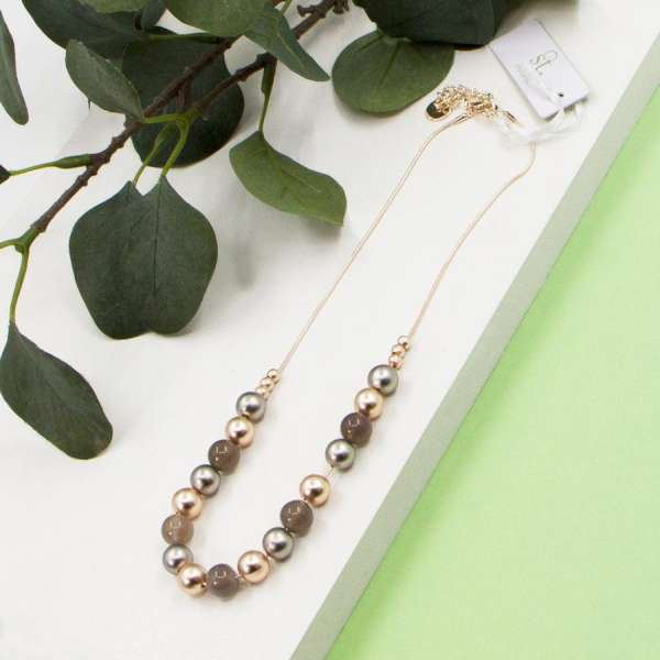 Tempest Mixed Tone Beads On Short Snake Chain Necklace